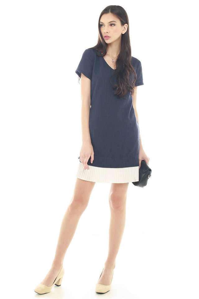 *BACK IN STOCK* Pleated Hem Shift Dress in Navy Tweed