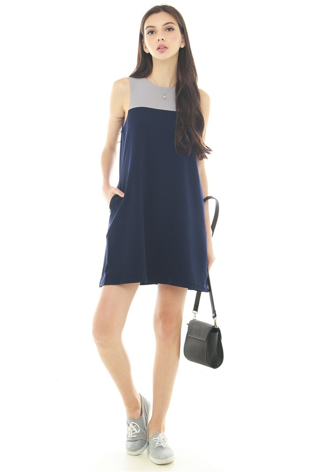 *BACK IN STOCK* ACW Colourblock Pocket Trapeze Dress in Navy
