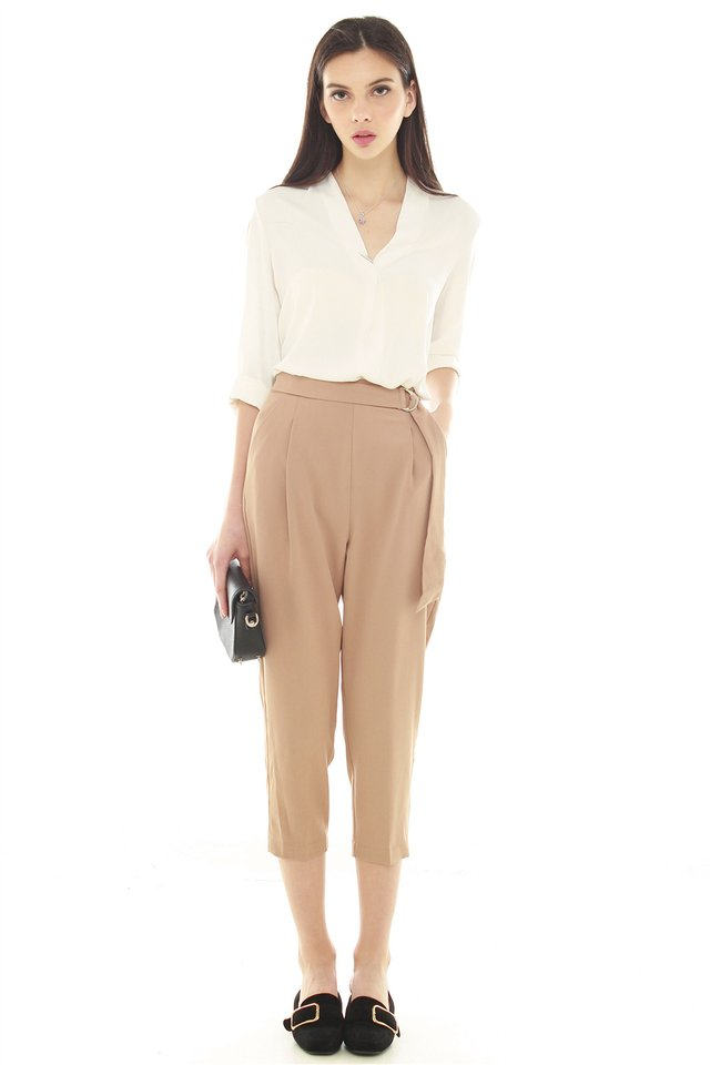*BACK IN STOCK* D-Ring Corner Sash Tie Trousers in Khaki