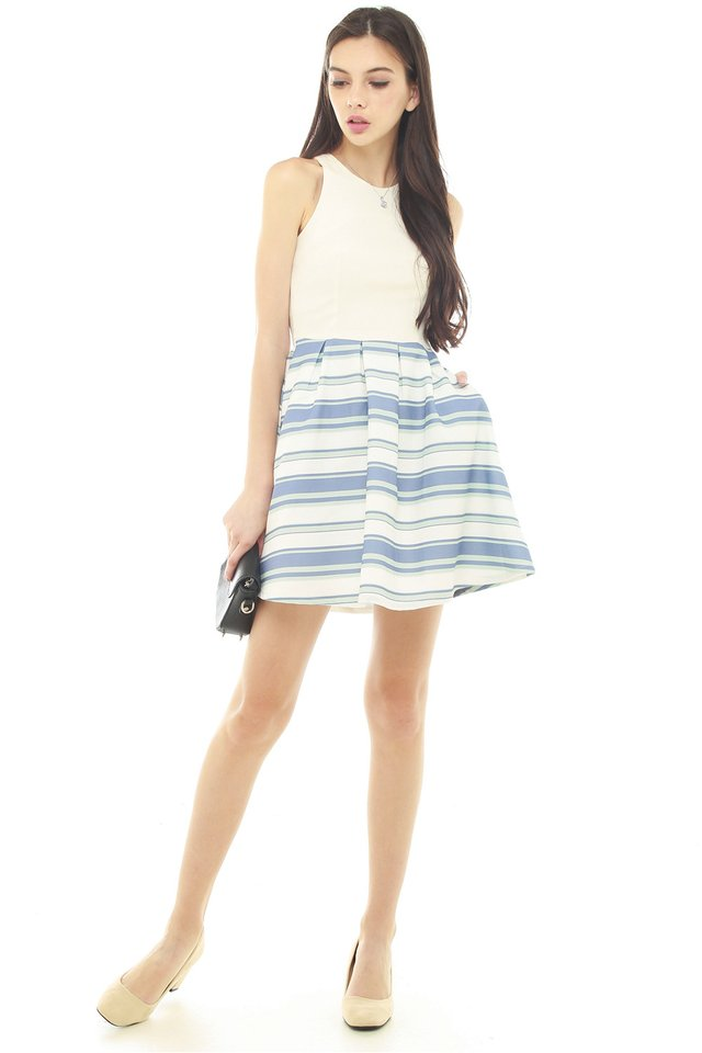 *BACK IN STOCK* Textured Colour Stripes Work Dress in White