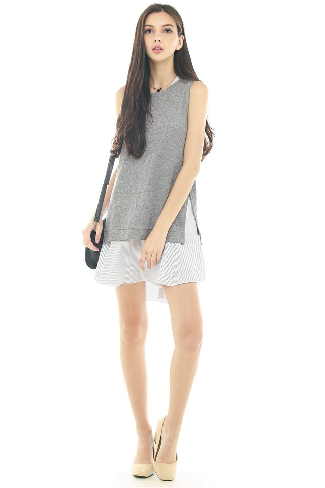 *BACK IN STOCK* Detachable Flutter Two Piece Dress in Grey