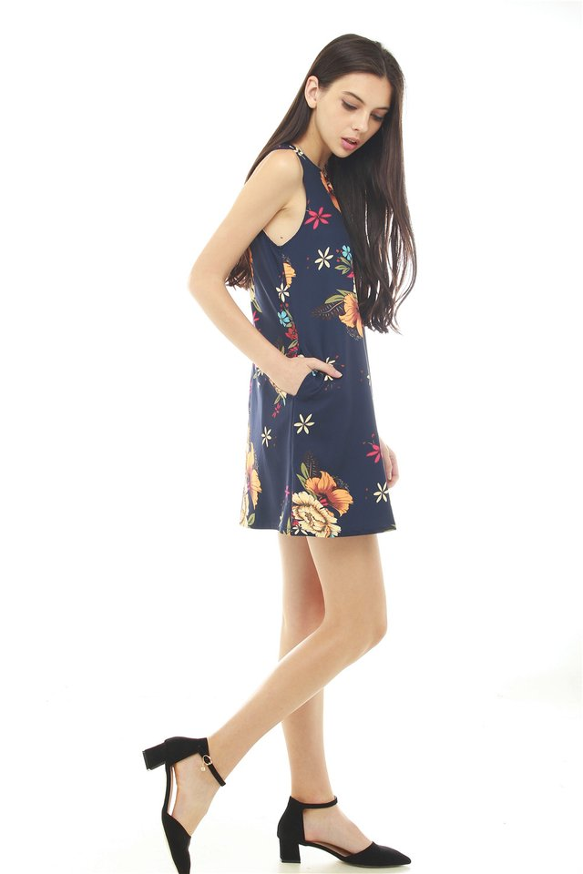 *BACK IN STOCK* ACW Tropical Florals Pocket Trapeze Dress in Navy
