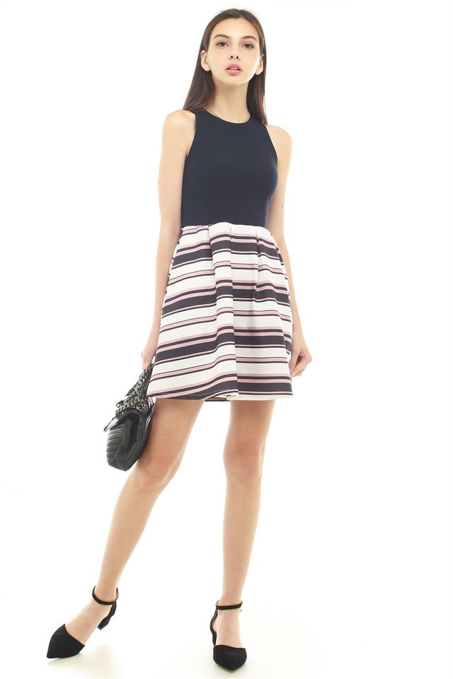 *BACK IN STOCK* Textured Colour Stripes Work Dress in Black