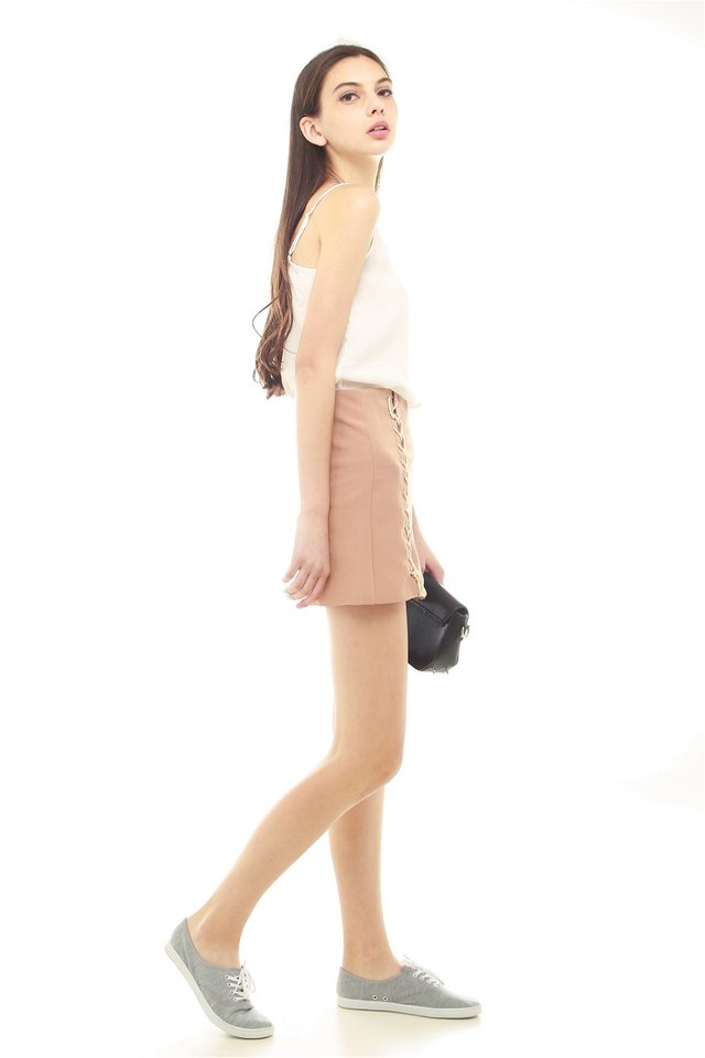 Double Lace Skirt in Camel