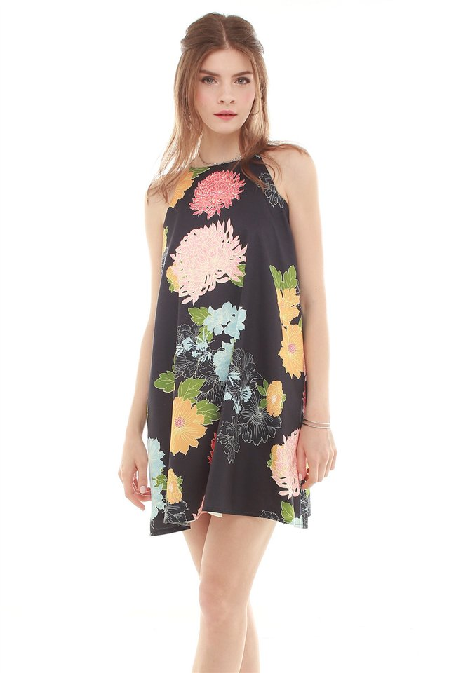 Brocade Floral Trapeze Dress in Black