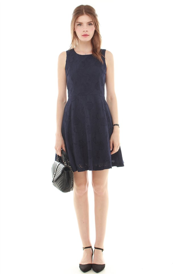 Eyelet Fit and Flare Dress in Navy