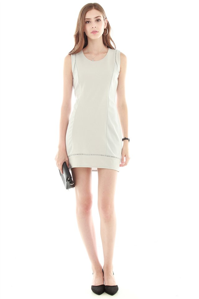 Eyelet Detailing Work Dress in Grey