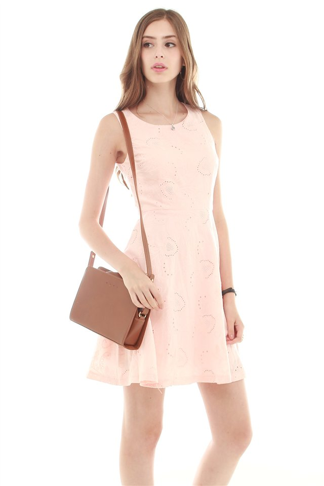 Eyelet Fit and Flare Dress in Dusty Pink