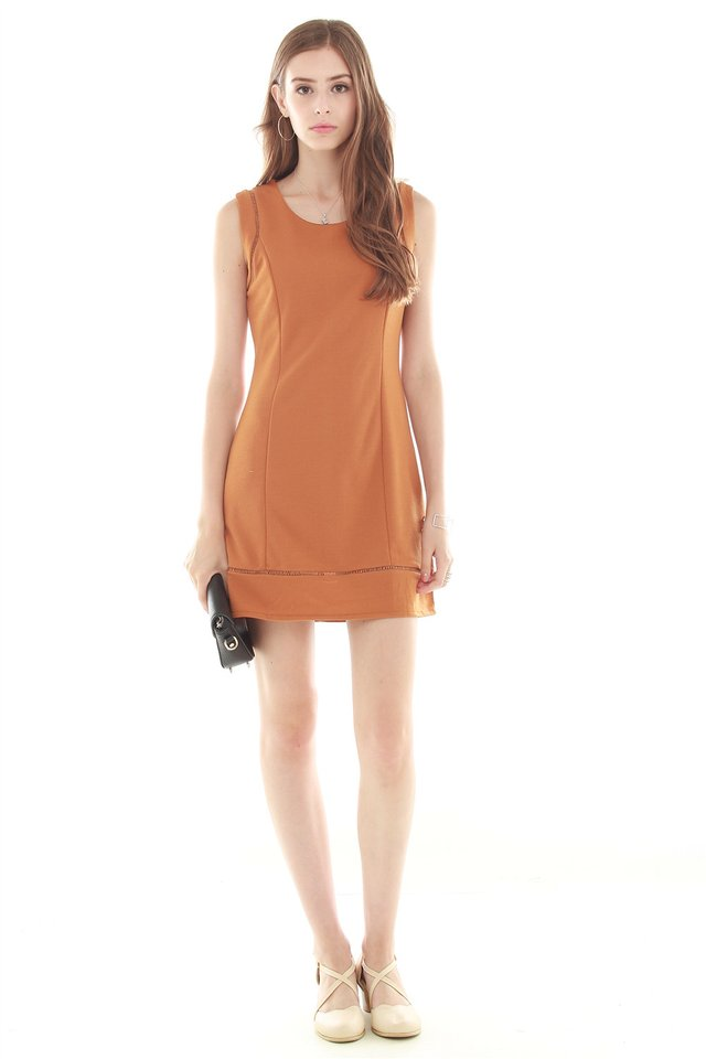 Eyelet Detailing Work Dress in Camel