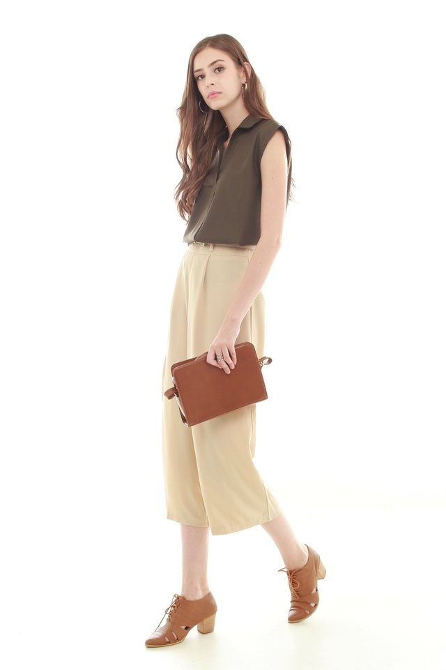 Belted Flare Trousers in Cream