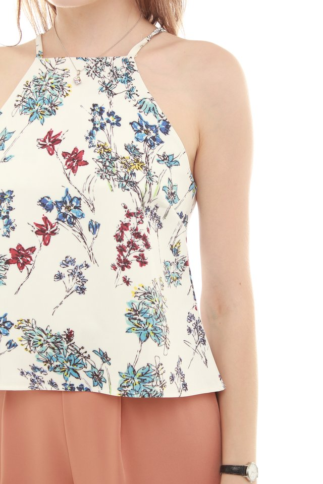 ACW Graphic Florals Cut In Neckline Top in White