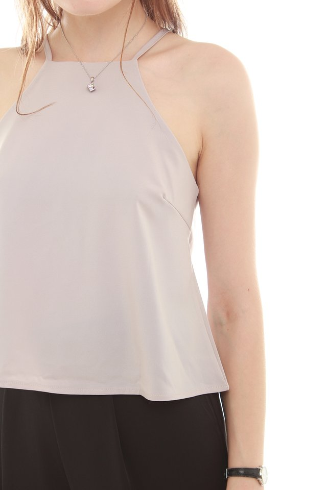 ACW Cut In Neckline Top in Dusty Grey