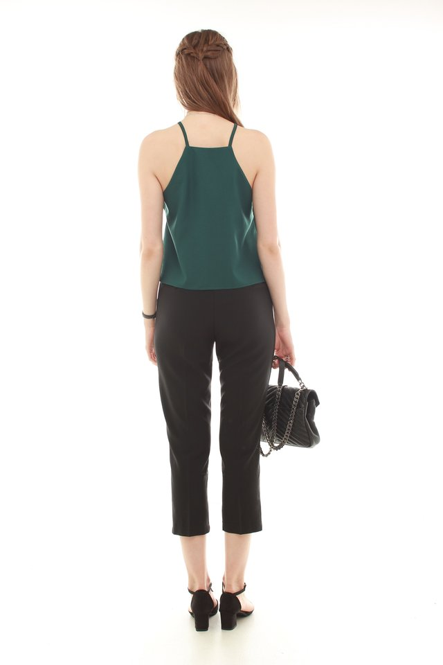 *BACK IN STOCK* ACW Cut In Neckline Top in Emerald