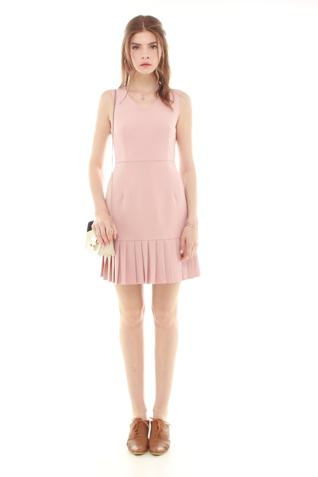 *Backorder* Pleated Hemline Fit and Flare Dress in Dusty Pink