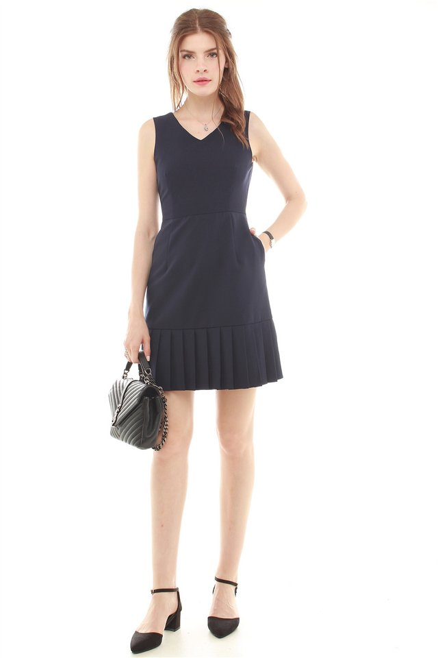 *Backorder* Pleated Hemline Fit and Flare Dress in Navy