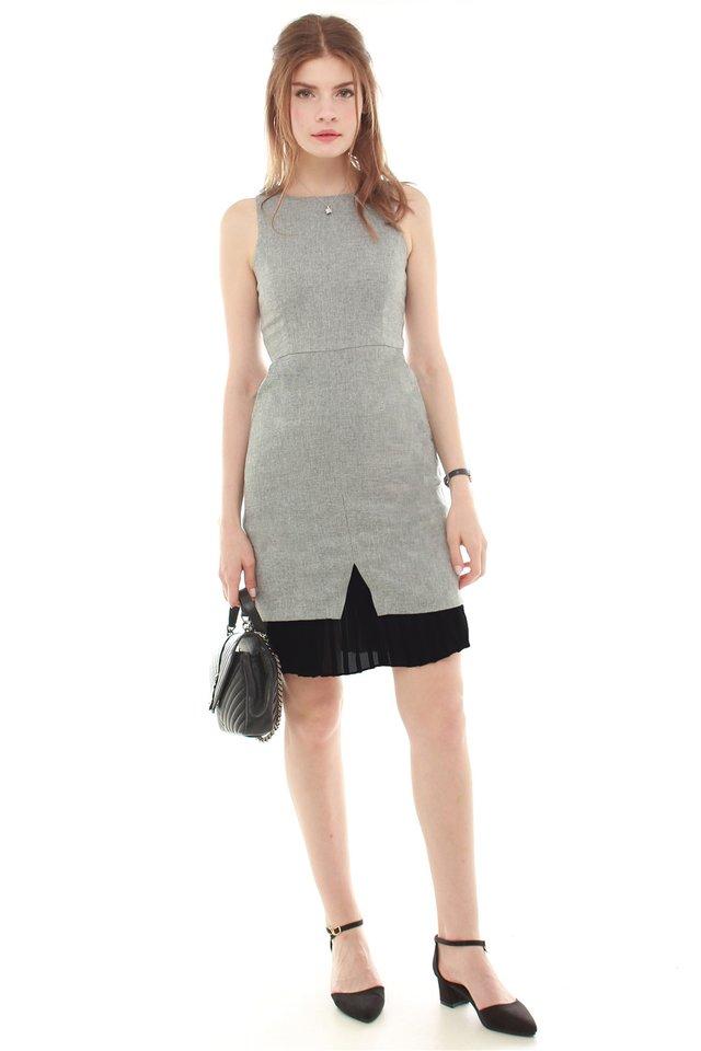 Pleated Contrast Tweed Work Dress in Dark Grey