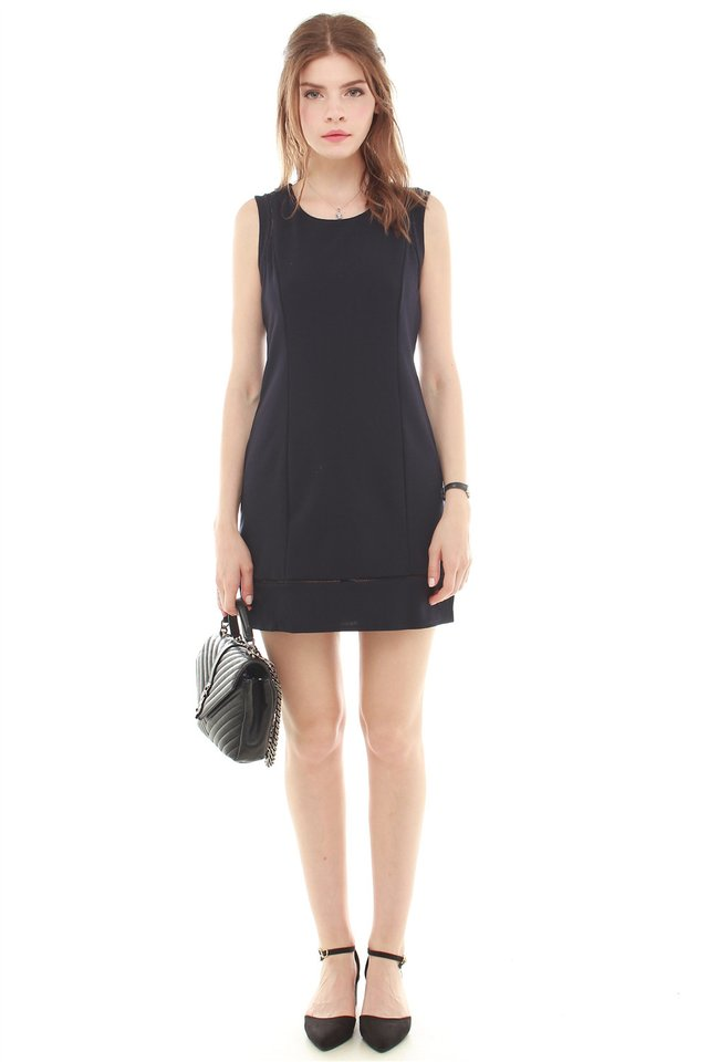 Eyelet Detailing Work Dress in Navy