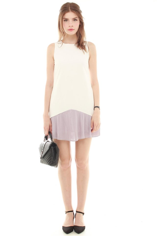 *BACK IN STOCK* Colourblock Pleated Pocket Trapeze Dress in Dusty Grey
