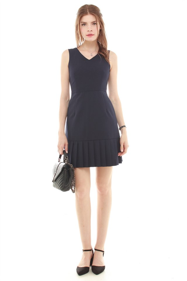 *BACK IN STOCK* Pleated Hemline Fit and Flare Dress in Navy