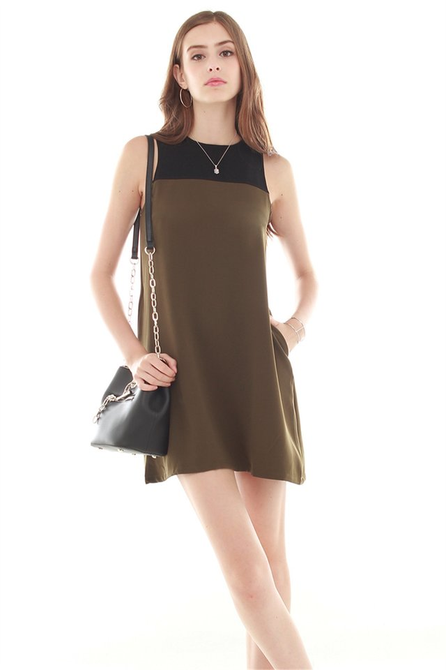 *BACK IN STOCK* ACW Colourblock Pocket Trapeze Dress in Olive