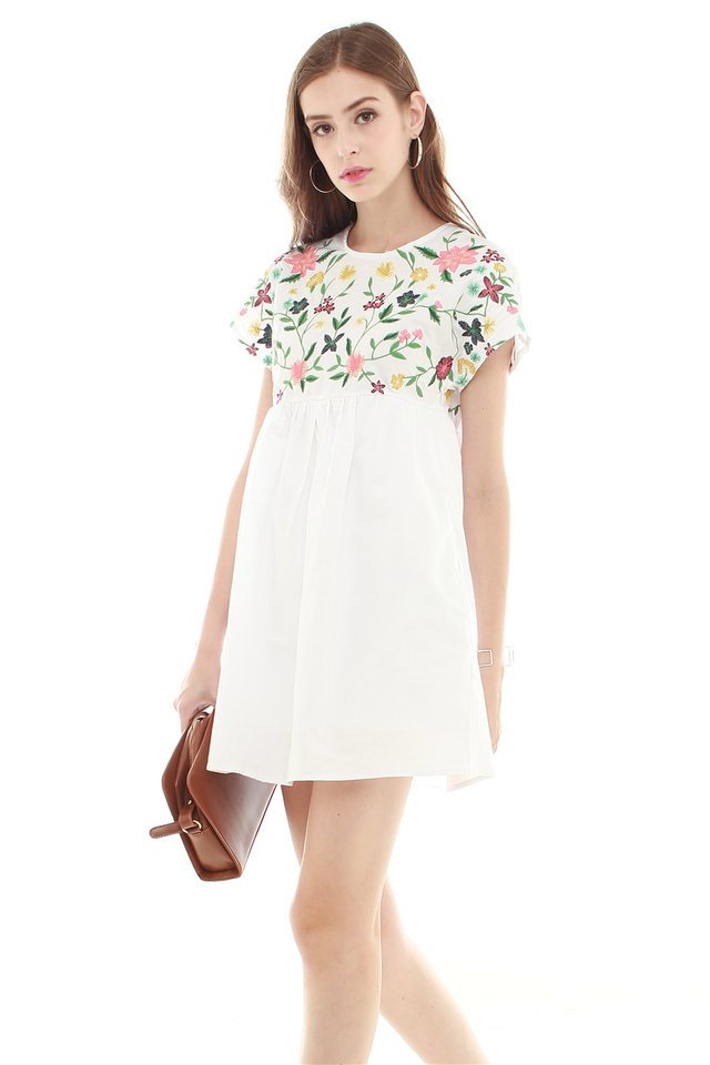 *BACK IN STOCK* Embroidery Romper Dress in White