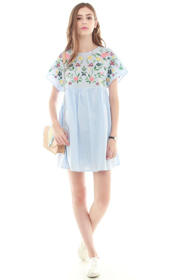 *Backorder 6* Embroidery Romper Dress in Denim Blue