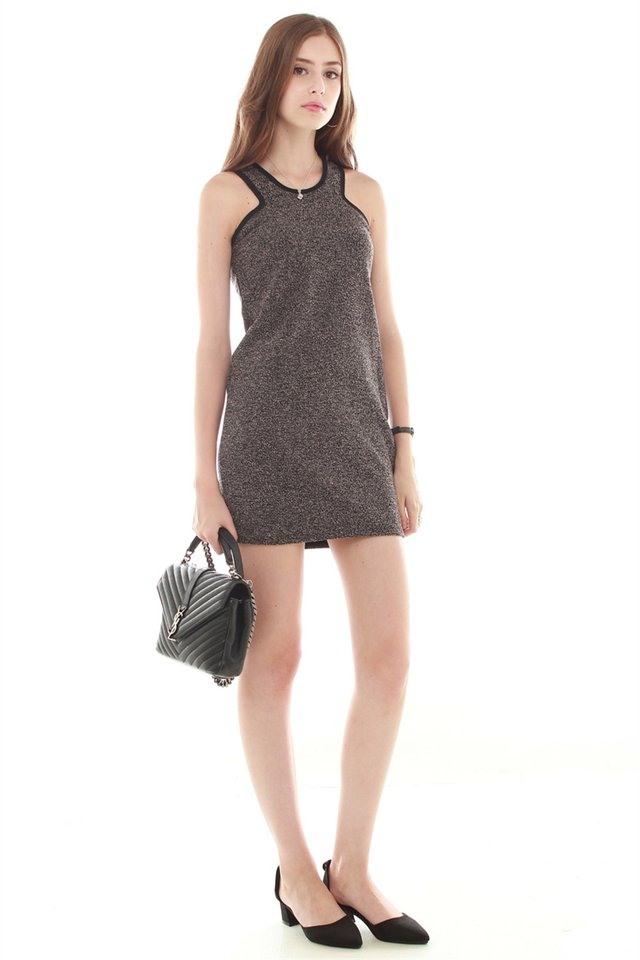 Textured Cut In Dress in Dark Grey