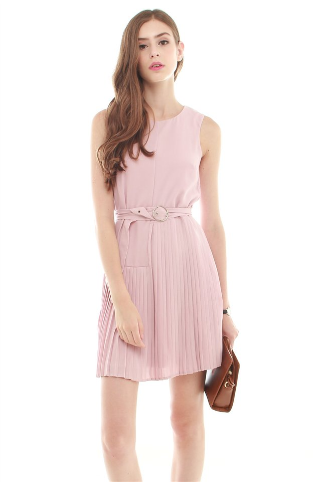 Belted Asymmetrical Pleats Shift Dress in Dusty Pink