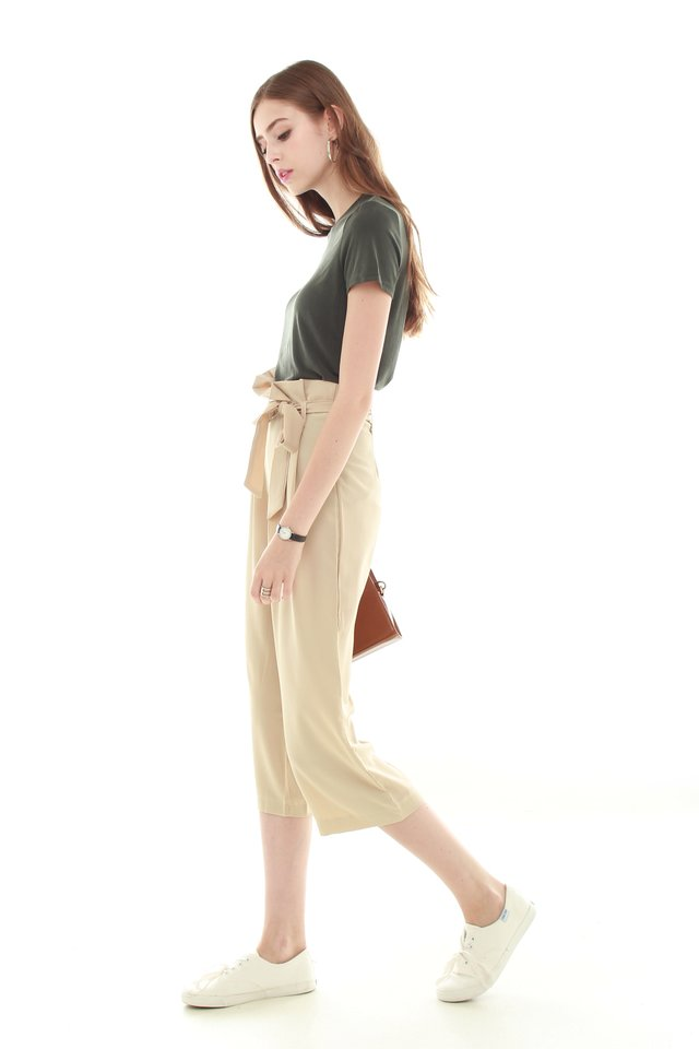 Paperbag Sash Tie Trousers in Cream