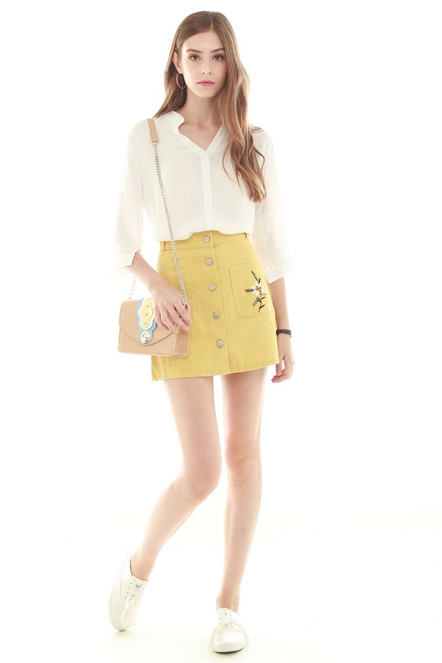 *BACK IN STOCK* Embroidery Button Down Skirt in Yellow