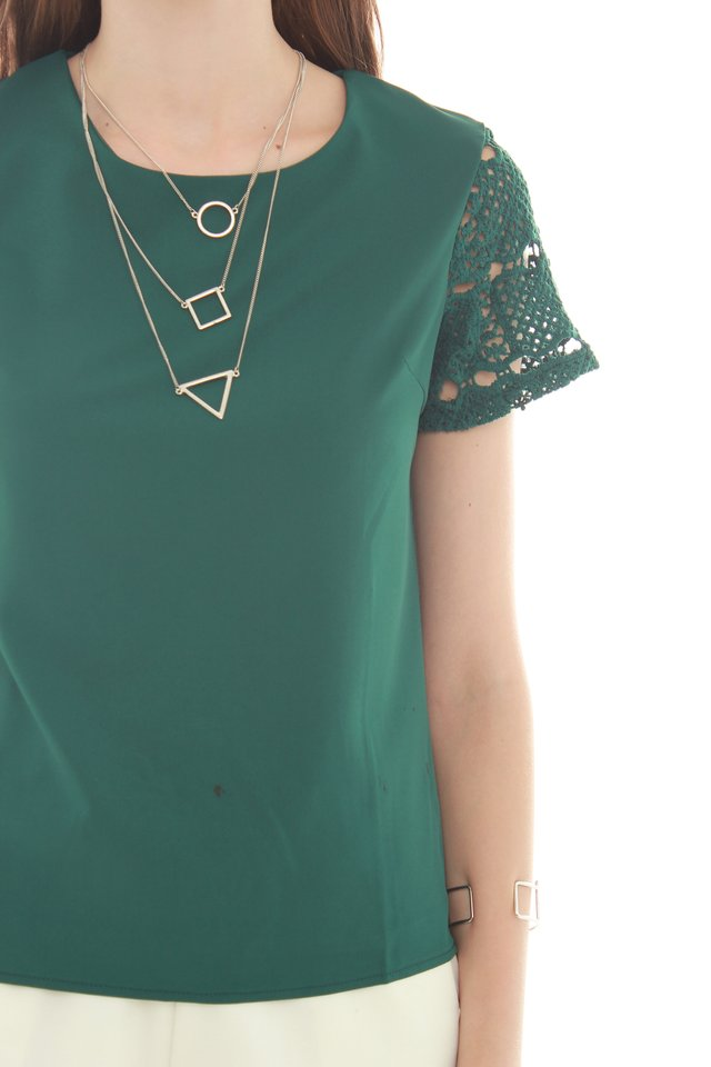 ACW Crotchet Sleeved Top in Emerald