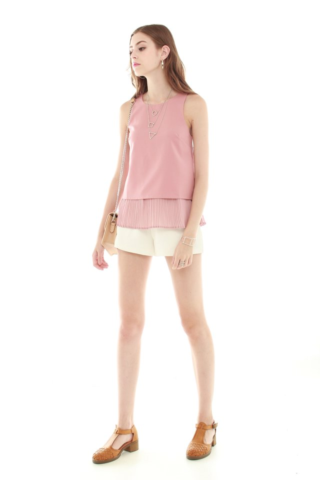 *BACK IN STOCK* ACW Pleated Hemline Shell Top in Dusty Pink