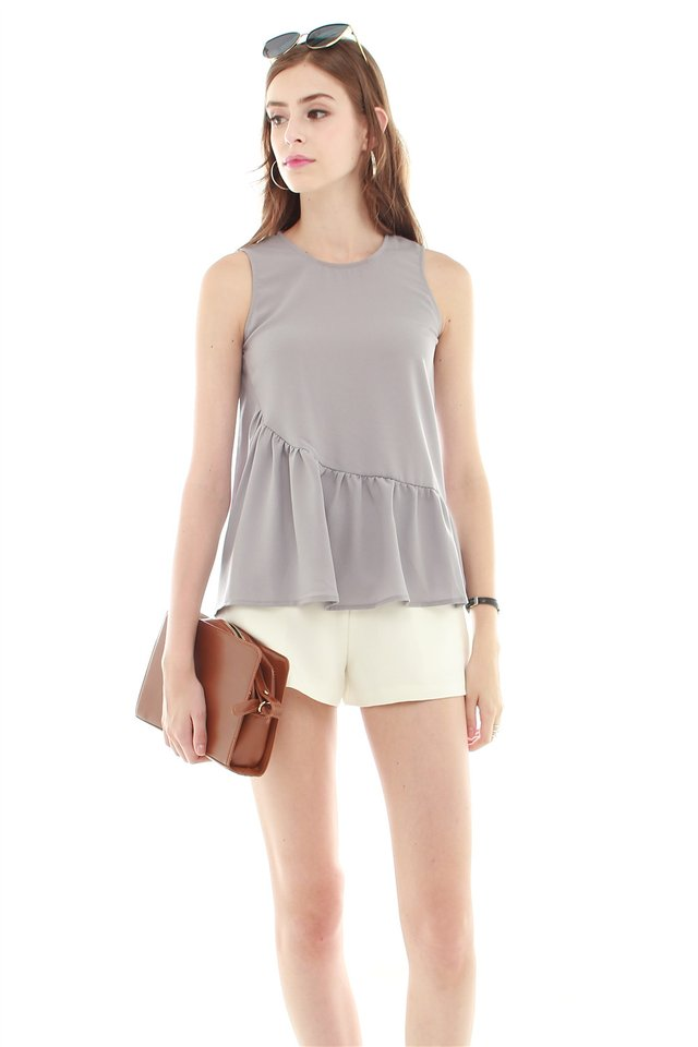 *BACK IN STOCK* ACW Peplum Tiered Top in Dusty Grey