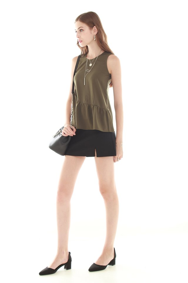 *BACK IN STOCK* ACW Peplum Tiered Top in Olive