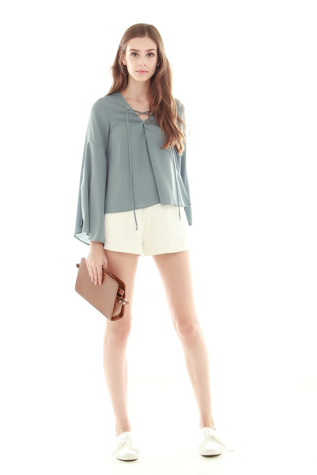*BACK IN STOCK* ACW Split Sleeve Lace Tie Shirt in Ash Blue