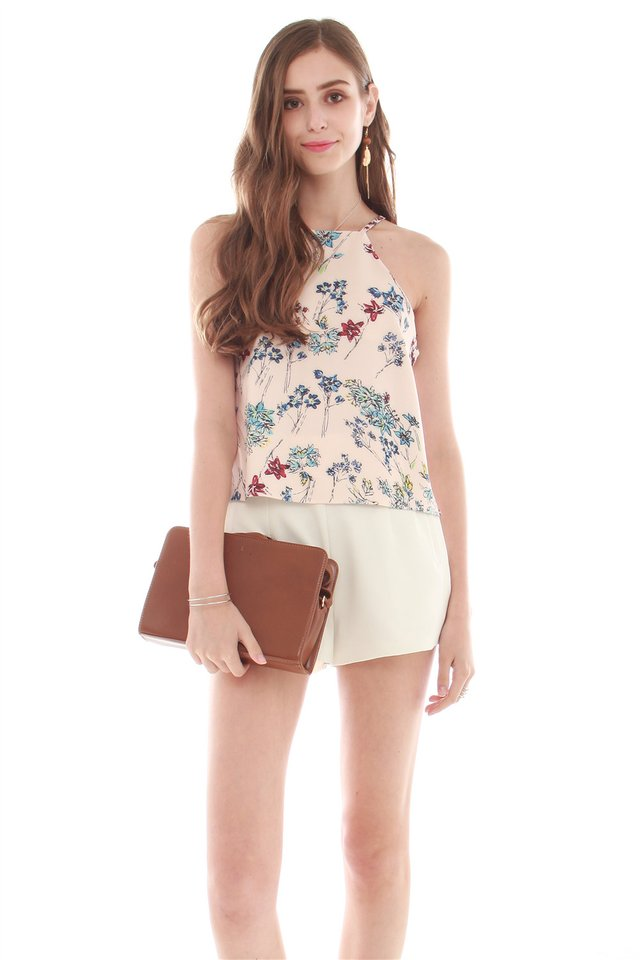 ACW Graphic Florals Cut In Neckline Top in Sand