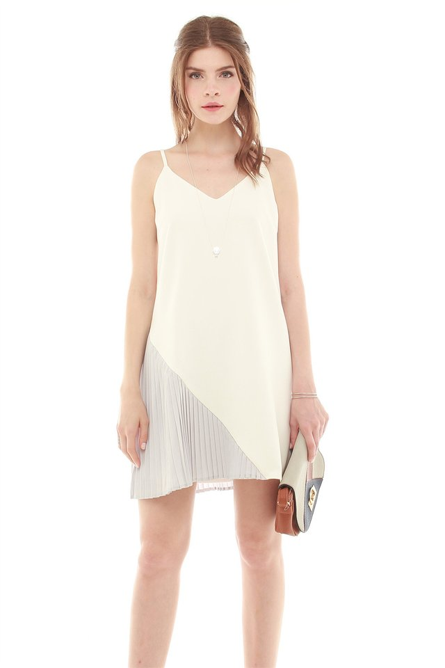 *Backorder* Colourblock Pleated Slip Dress in White