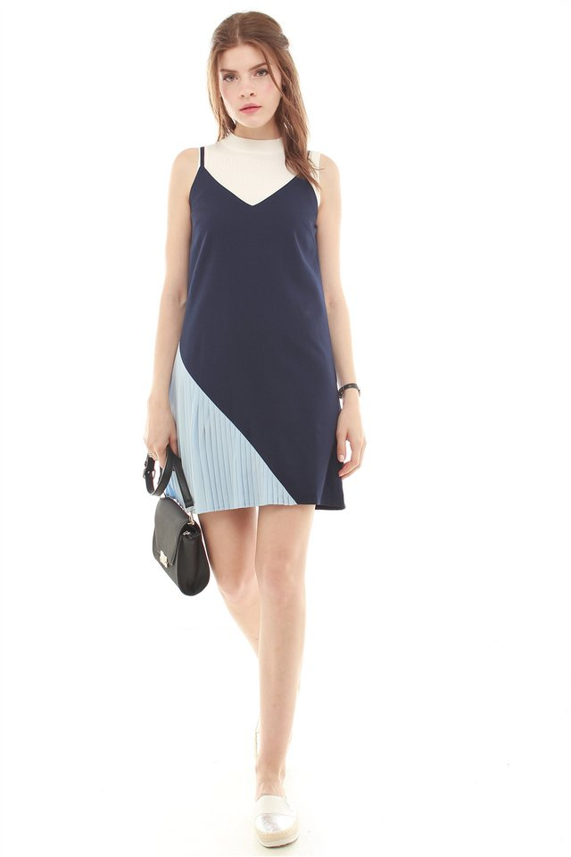 *Backorder* Colourblock Pleated Slip Dress in Navy