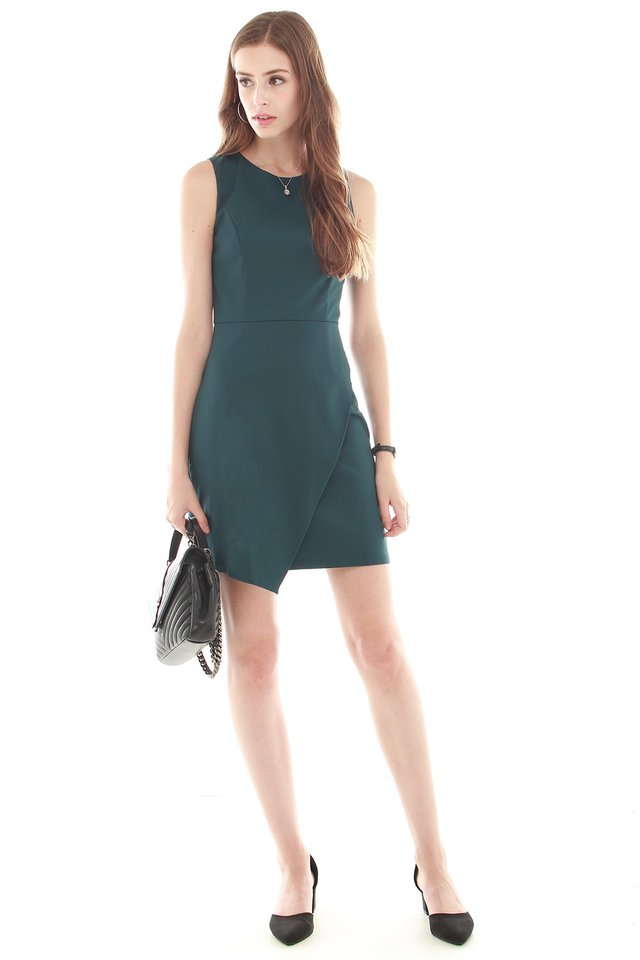 Overlap Work Dress in Emerald