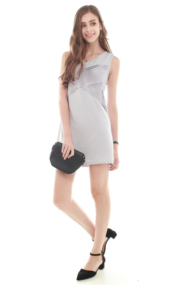 Ruched Front Shift Dress in Dusty Grey