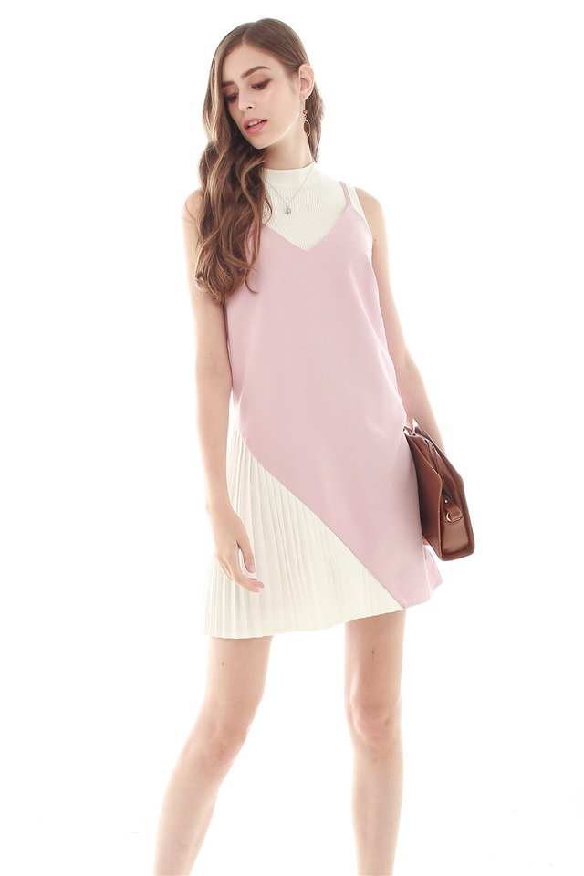 Colourblock Pleated Slip Dress in Dusty Pink