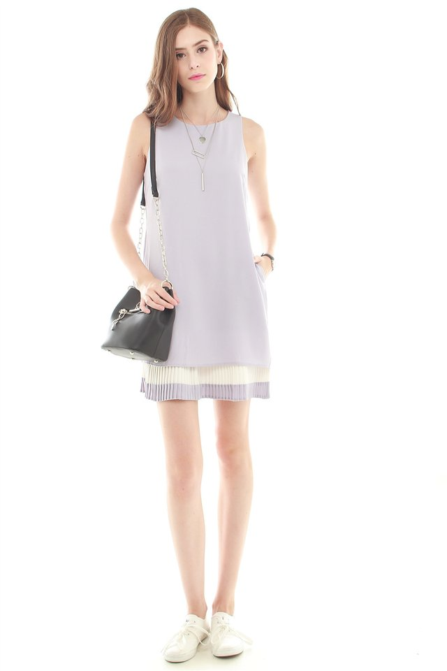 *Backorder 2* Double Pleat Colourblock Shift Dress in Dusty Grey