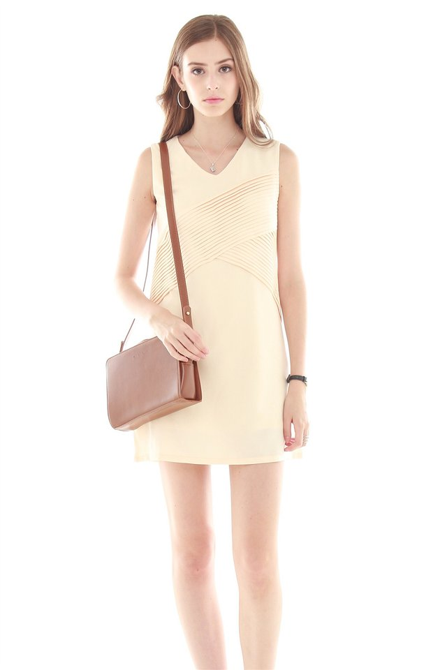 Ruched Front Shift Dress in Cream