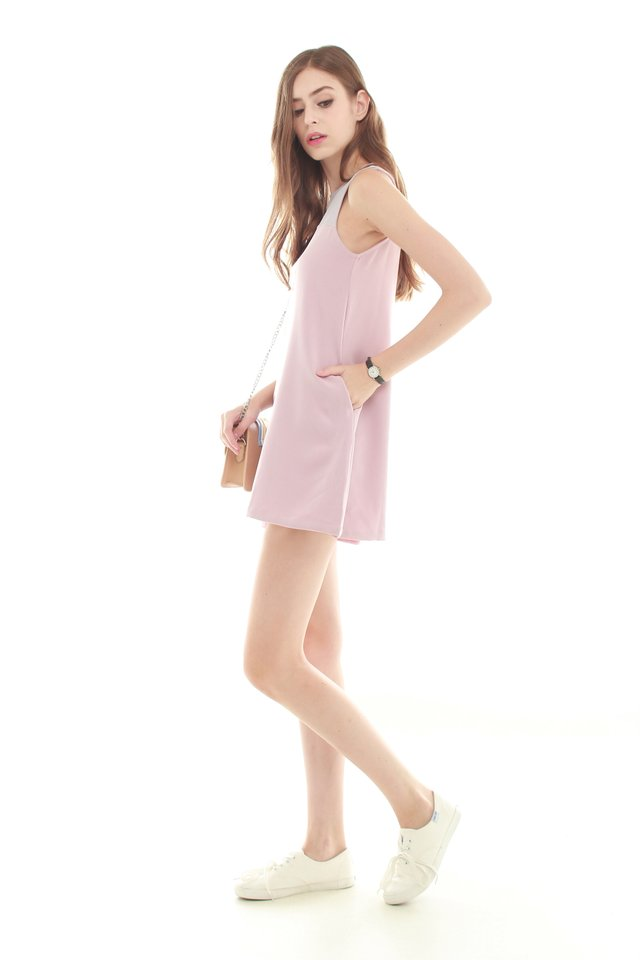 *BACK IN STOCK* ACW Colourblock Pocket Trapeze Dress in Dusty Pink