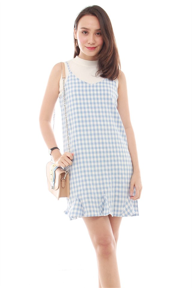 Gingham Flutter Slip Dress in Sky