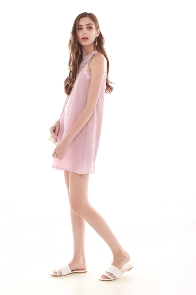 *Exclusive* Embroidery Trapeze Dress in Dusty Pink