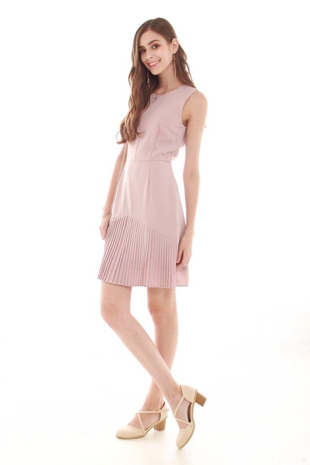 Inverted Pleats Work Dress in Dusty Pink