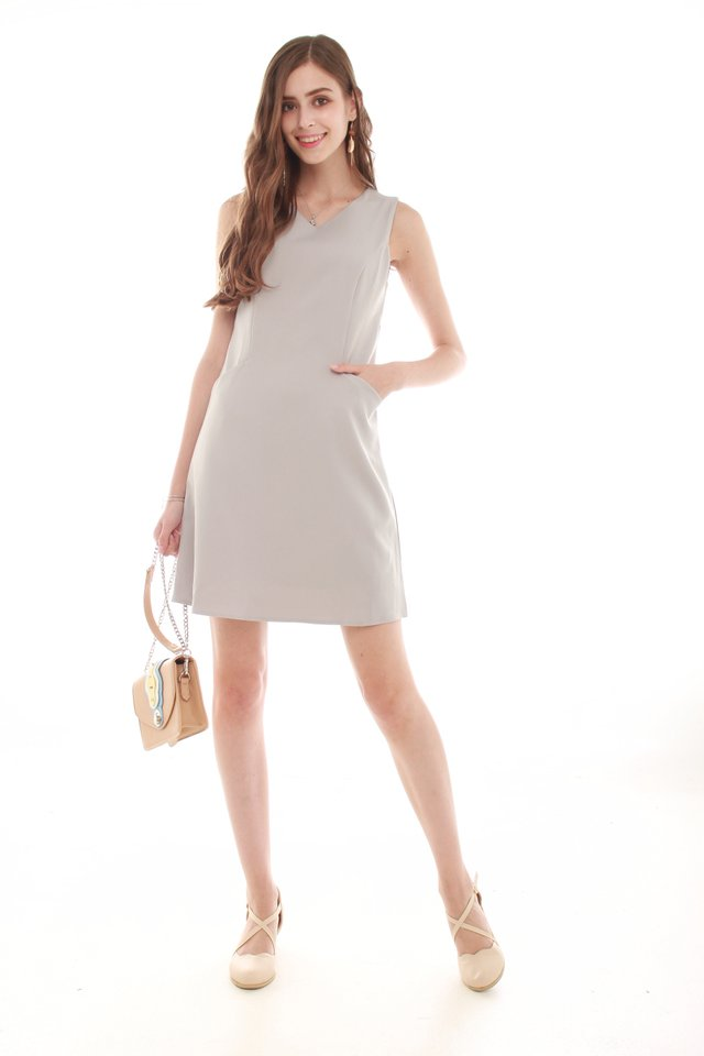 ACW Effortless Pocket Shift Dress in Light Grey