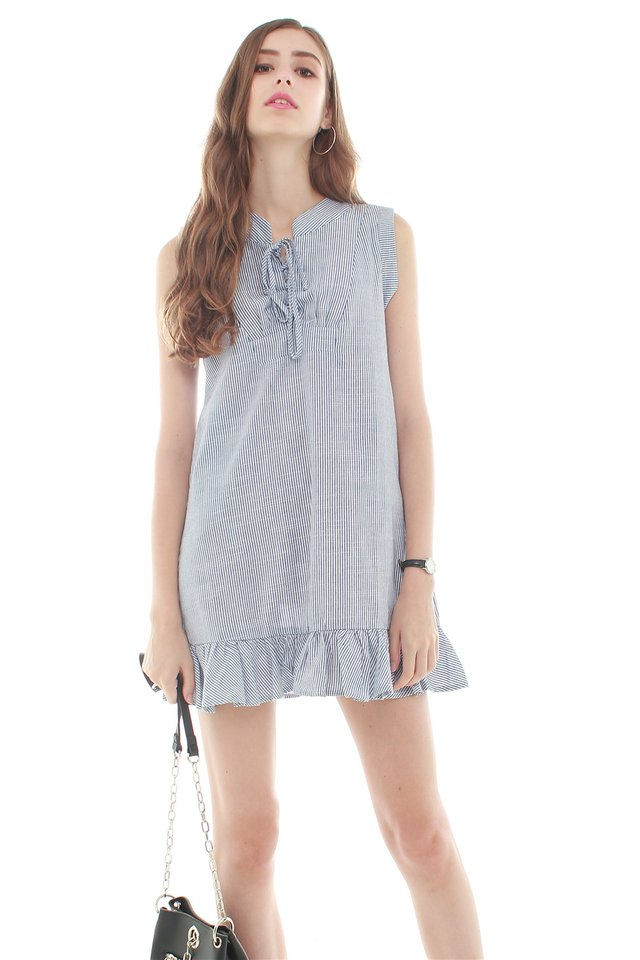 *BACK IN STOCK* ACW Pinstripes Tie Front Flutter Hem Dress in Blue