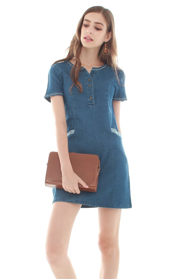 Denim  Pocket Tee Dress